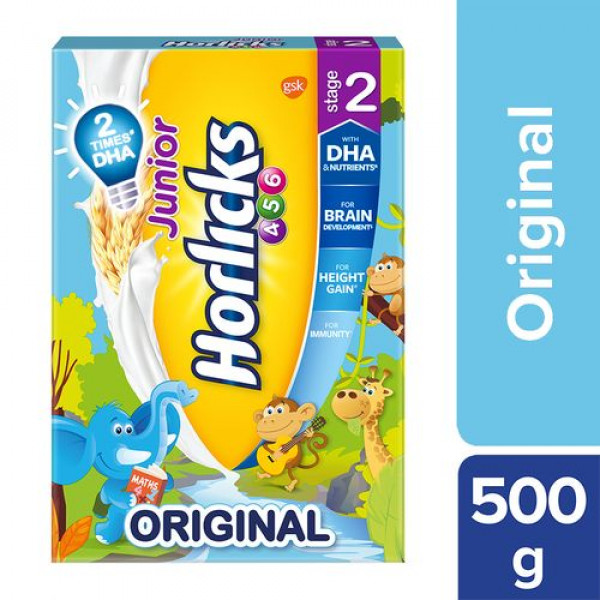 Horlicks Junior Health & Nutrition Drink - Original Flavour, Stage 2, 4-6 years, 500 g Carton