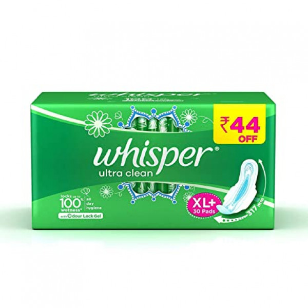 Whisper  Sanitary Pads - XL+ Wings, Ultra Clean, 15 pcs
