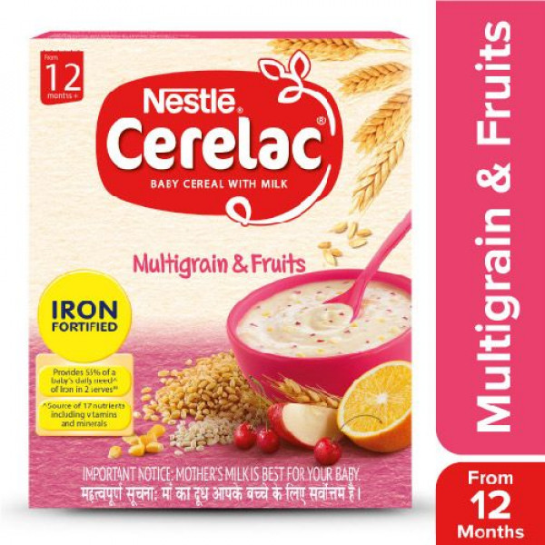 Nestle  Cerelac Fortified Baby Cereal With Milk, Multigrain & Fruits - From 12 Months, 300 g Bag-In-Box