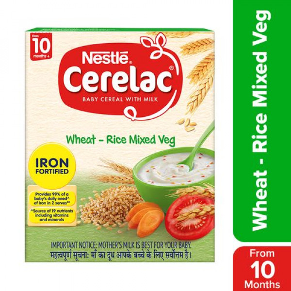 Nestle  Cerelac Fortified Baby Cereal With Milk, Wheat-Rice Mixed Veg - From 10 Months, 300 g Bag-In-Box