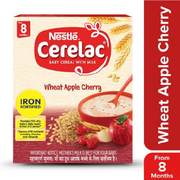 Nestle  Cerelac Fortified Baby Cereal With Milk, Wheat Apple Cherry - From 8 Months, 300 g Bag-In-Box