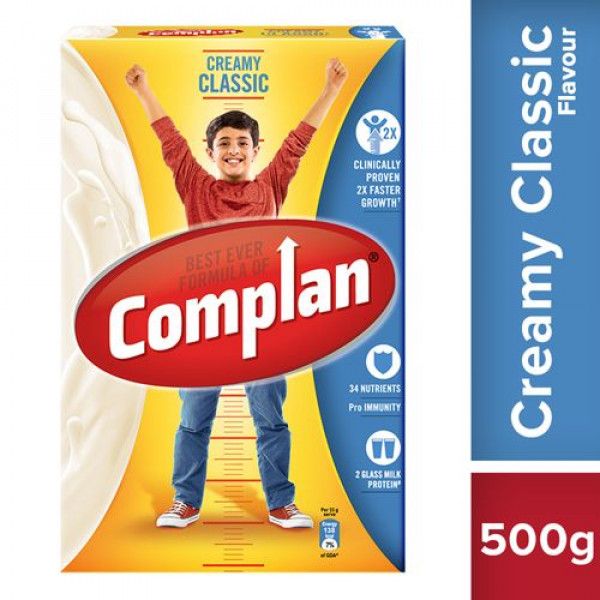 Complan Growth Drink Mix - Creamy Classic Flavour, 500 g Carton