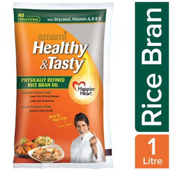 Emami Healthy & Tasty - Rice Bran Oil, 1 L Pouch