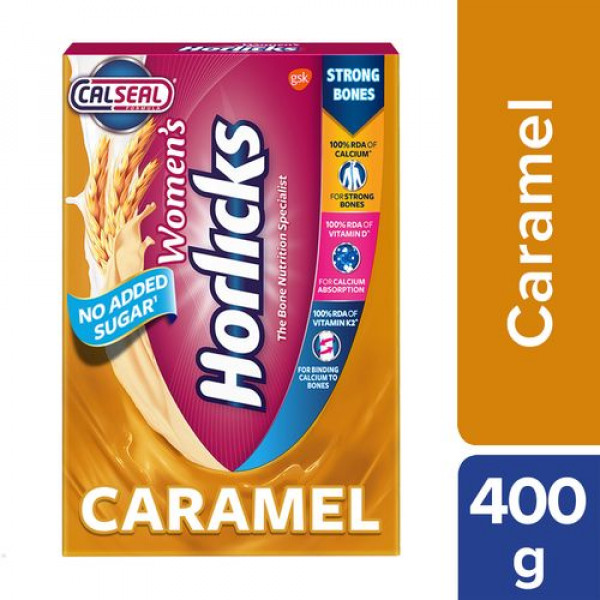 Horlicks Women's Horlicks Health & Nutrition Drink - Caramel Flavour, No Added Sugar, 400 g Carton
