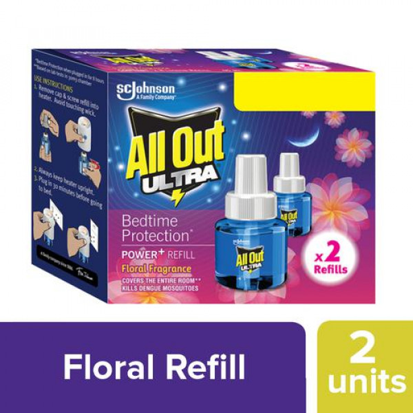 All Out Ultra Power+ Floral Fragrance, 90 ml (Twin Pack)
