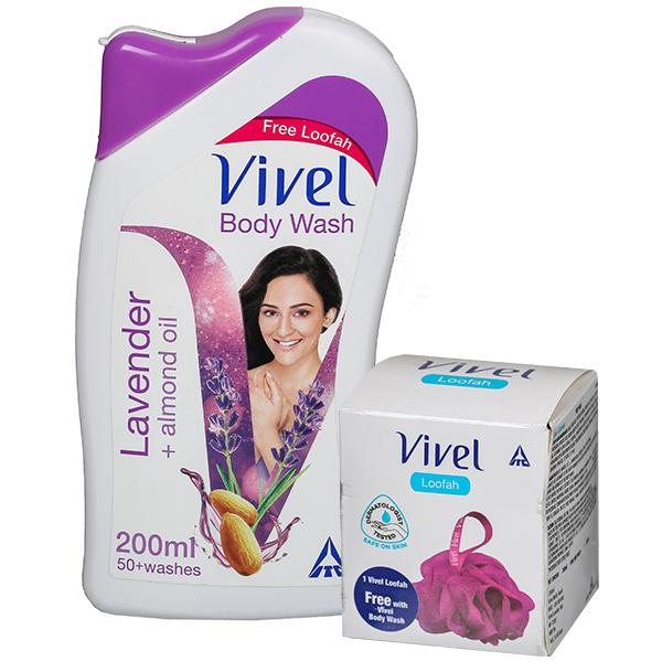 Vivel Body Wash - Lavender, Almond Oil, 200 ml  Free Loofa