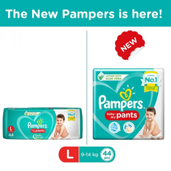 Pampers  New Dry Large - 44 Diapers Pants, 44 pcs