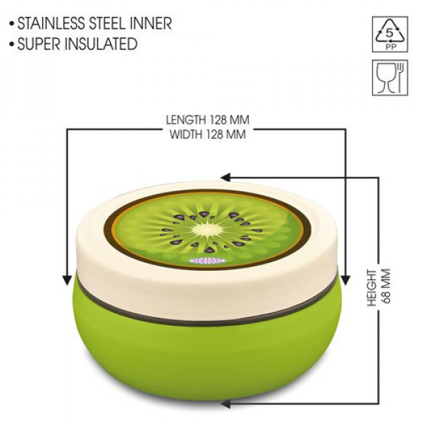 Asian Microwaveable Round Plastic Lunch Box/Tiffin Box - Fun Meal, Green, Medium, 1 pc