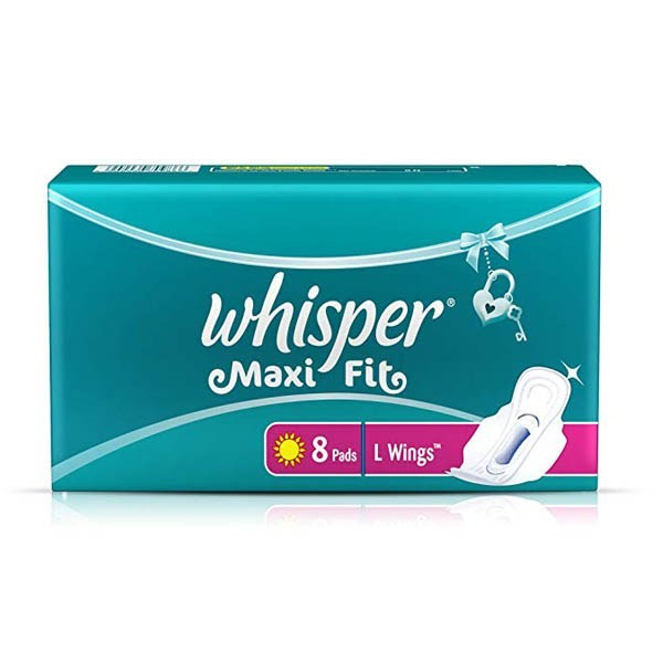 Whisper  Sanitary Pads -Maxi Fit 8 pads L wings