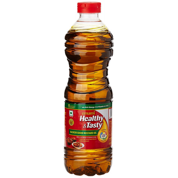 Emami Healthy and Tasty Kachi Ghani Mustard Oil Bottle, 500ml