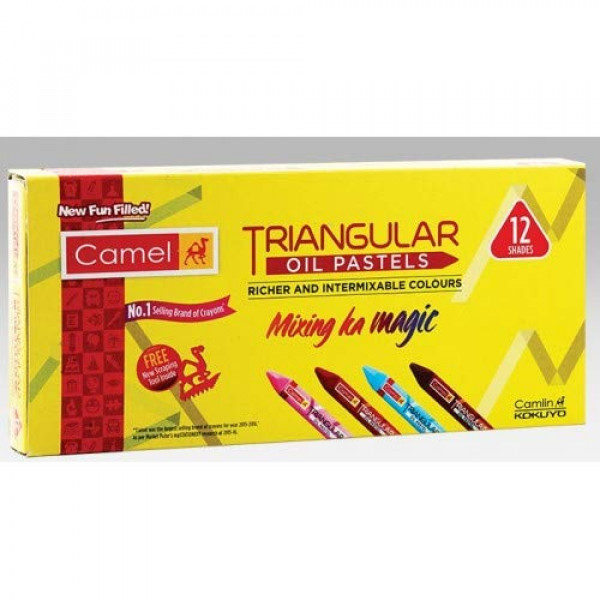 Camel Triangular Oil Pastels  12  Shades  Box