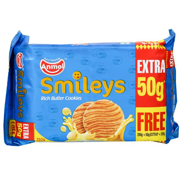 Anmol Smileys Rich Butter Cookies (Free 50 g Extra) 200 g