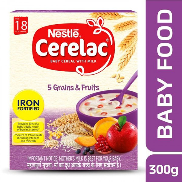 Nestle  Cerelac Baby Cereal With Milk, 5 Grain & Fruits - From 18-24 Months, 300 g
