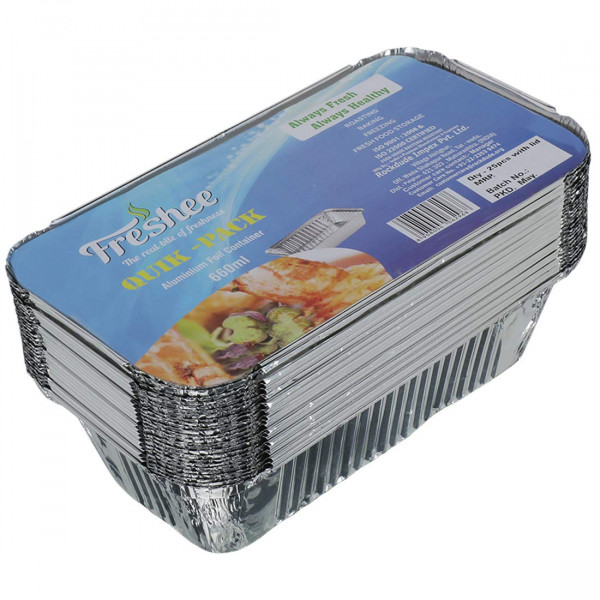 Freshee 25 pcs Aluminium Silver Foil Container 660ml, Food Storage Disposable Containers with Lid for Kitchen